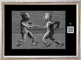 Obraz do salonu artysty Janusz Wieczorek pod tytułem DROGA Z SZAKALAMI I WSCHODZĄCYM SŁOŃCEM