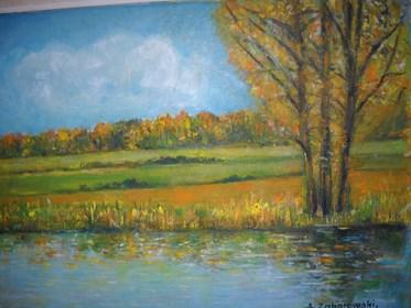 Obraz do salonu artysty Antoni Zaborowski pod tytułem Pejżaż jesienny