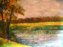 Living room painting by Antoni Zaborowski titled  Shore of the lake I