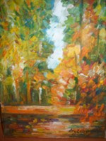 Living room painting by Antoni Zaborowski titled  Forest in autumn IV