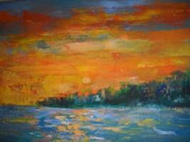 Obraz do salonu artysty Antoni Zaborowski pod tytułem Pejzaż z jeziorem