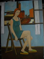 Living room painting by Antoni Zaborowski titled  A female figure against the background of old architecture in Kościerzyna