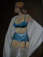 Living room painting by Antoni Zaborowski titled Female figure