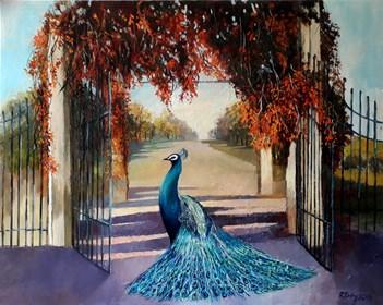 Obraz do salonu artysty Renata Kulig-Radziszewska pod tytułem Ogród jesienny- z cyklu :czarowne ogrody