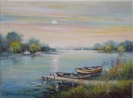 Obraz do salonu artysty Ryszard  Gbiorczyk pod tytułem Przystań z łodziami