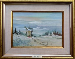 Living room painting by Ryszard  Gbiorczyk titled Winter - windmill