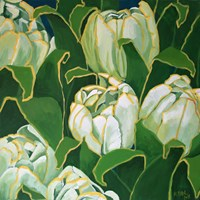 Living room painting by Magdalena Purol titled  TULIPS WHITE