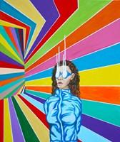 Living room painting by Mariusz Drabarek titled Raising vibrations