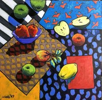 Living room painting by David Schab titled Still life with apples