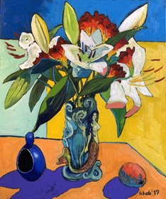 Living room painting by David Schab titled Flowers in a vase with a mermaid