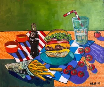 Living room painting by David Schab titled  Burger over chips