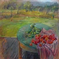 Living room painting by Dorota  Goleniewska-Szelągowska titled  Tomatoes versus cucumbers