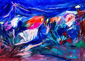Living room painting by Iwona  Golor titled Greece at night