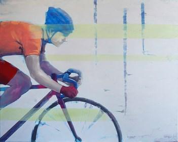 Living room painting by Paulina Rychter titled Bicycle