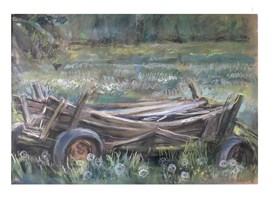 Living room painting by Lidia Snitko-Pleszko titled Old wagon