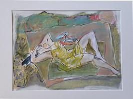 Obraz do salonu artysty Lidia Snitko-Pleszko pod tytułem kobieta w zółtej sukience