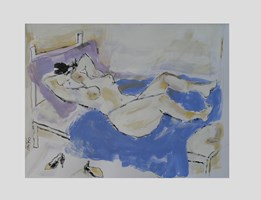 Obraz do salonu artysty Lidia Snitko-Pleszko pod tytułem kobieta na niebieskim