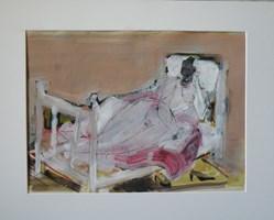 Obraz do salonu artysty Lidia Snitko-Pleszko pod tytułem kobieta na łóżku