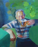 Obraz do salonu artysty Agata Baltyzar pod tytułem Mężczyzna trzymajacy kufel piwa