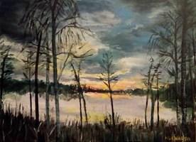 Obraz do salonu artysty Michał Kucharski pod tytułem Świt nad leśnym jeziorem