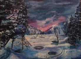 Obraz do salonu artysty Michał Kucharski pod tytułem Zimowe Jezioro