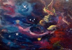 Obraz do salonu artysty Michał Kucharski pod tytułem Pewnego razu w galaktyce/Once in the galaxy