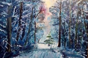 Obraz do salonu artysty Michał Kucharski pod tytułem Las zimowy