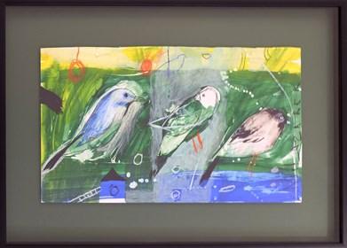 Obraz do salonu artysty Małgorzata Lazarek pod tytułem Zielone ptaszki