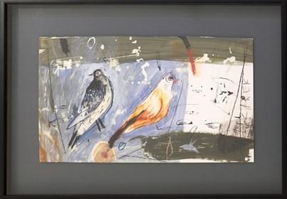 Obraz do salonu artysty Małgorzata Lazarek pod tytułem Błękitne ptaszki