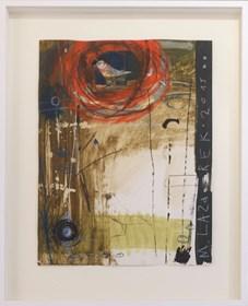 Obraz do salonu artysty Małgorzata Lazarek pod tytułem Ptaszek w czerwonym gniazdku