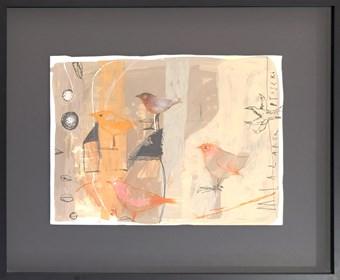 Obraz do salonu artysty Małgorzata Lazarek pod tytułem Beżowe ptaszki