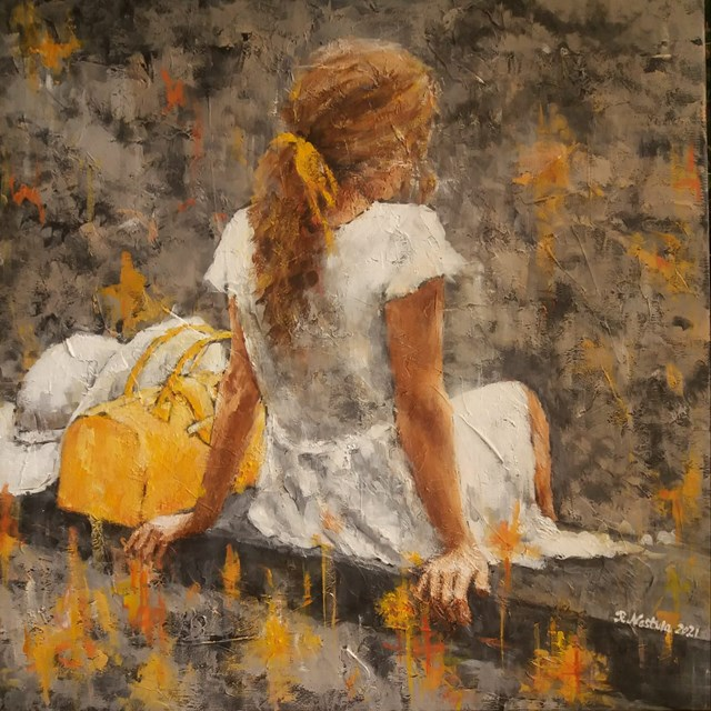 Living room painting by Renata Nastula titled Girl with a hat
