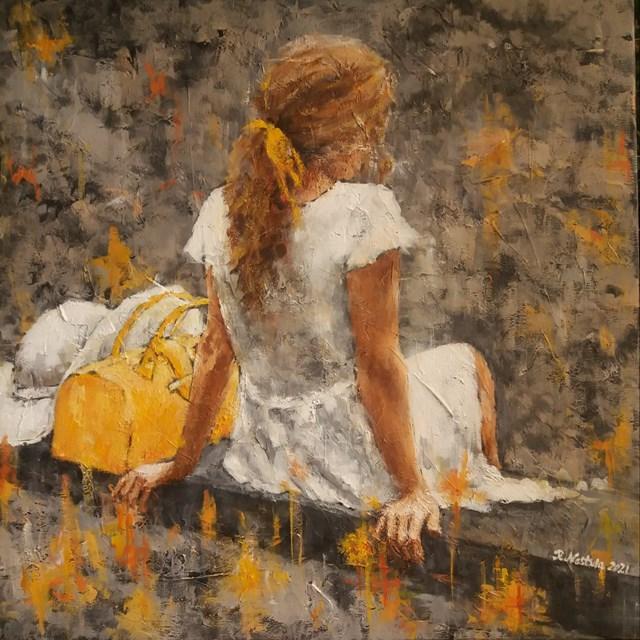 Obraz do salonu artysty Renata Nastula pod tytułem Dziewczyna z kapeluszem