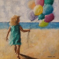 Living room painting by Renata Nastula titled  Girl with balloons