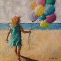 Obraz do salonu artysty Renata Nastula pod tytułem Dziewczynka z balonami