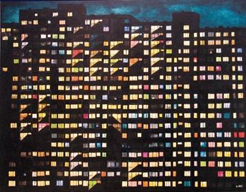 Obraz do salonu artysty Aleksandra Rey pod tytułem Silent Night z cyklu Geometria