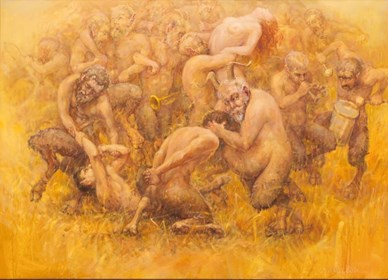 Living room painting by Daniel Pielucha titled Fauns in the grain