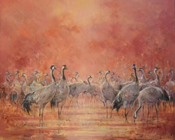 Living room painting by Daniel Pielucha titled Twilight cranes