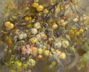 Living room painting by Daniel Pielucha titled Old Apple Tree
