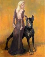 Obraz do salonu artysty Daniel Pielucha pod tytułem Panna z  Tuskiem