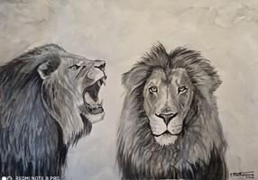 Obraz do salonu artysty Tomasz Pawłusiewicz pod tytułem Lwy