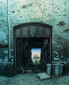 Grafika do salonu artysty Jacek Yerka pod tytułem Raj w podwórzu (95/450)