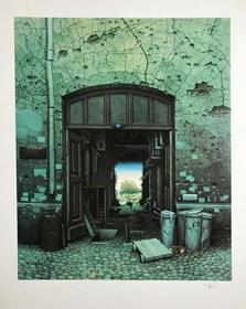 Grafika do salonu artysty Jacek Yerka pod tytułem Raj w podwórzu