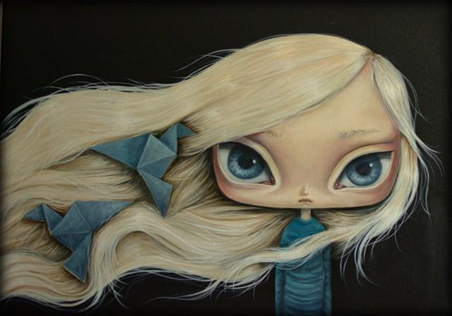 Obraz do salonu artysty Paulina Góra pod tytułem Niebieskie Ptaki z papieru