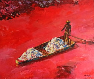 Obraz do salonu artysty Izabela Rudzka pod tytułem Pink lake