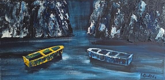 Obraz do salonu artysty Izabela Rudzka pod tytułem Łodzie w świetle księżyca