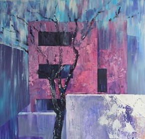 Living room painting by Izabela Rudzka titled A pink house and a tree