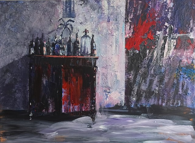 Living room painting by Izabela Rudzka titled Still life with red