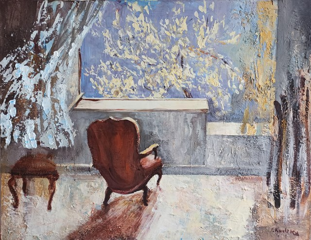 Obraz do salonu artysty Izabela Rudzka pod tytułem Wnętrze z fotelem