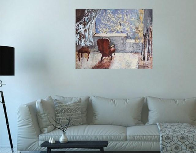 Wnętrze z fotelem - wizualizacja pracy autora Izabela Rudzka